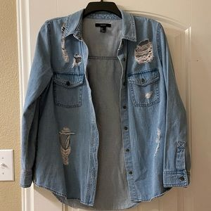 Forever 21 - Distressed denim button-down